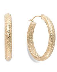 Macy's - Metallic Diamond-cut Hoop Earrings In 10k Gold - Lyst