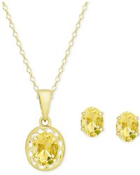 Macy's - Metallic Citrine Oval Pendant Necklace And Matching Stud Earrings Set (2-1/10 Ct. T.w.) In 18k Gold-plated Sterling Silver - Lyst