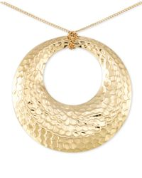 Macy's - Metallic Hammered Disc Long Length Pendant Necklace In 14k Vermeil - Lyst