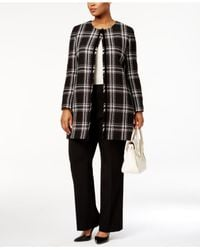 Tahari - Black Plus Size Collarless Plaid Fringe Jacket - Lyst