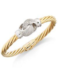 Macy's - Metallic Diamond Pavé Interlocked Twist Bangle Bracelet (1 Ct. T.w.) In 14k Gold-plated Sterling Silver - Lyst