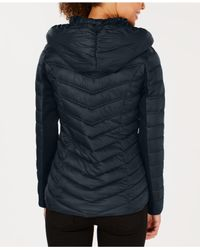 Laundry by Shelli Segal - Blue Asymmetrical Hooded Packable Puffer Coat - Lyst