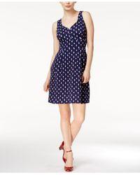 Maison Jules Blue Printed Sweetheart-neck Dress