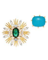 Danori - Green Gold-tone 2-pc. Blue Stone & Flower Pin Set - Lyst