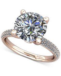 Macy's - Blue Diamond Pavé Mount Setting (1/2 Ct. T.w.) In 14k Rose Gold - Lyst