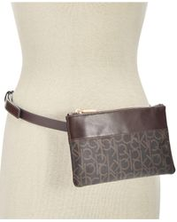 CALVIN KLEIN 205W39NYC - Brown Leather-trim Signature Fanny Pack - Lyst