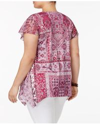 Style & Co. | Multicolor Plus Size Handkerchief-hem Peasant Top | Lyst