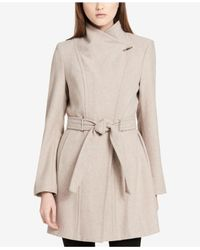 CALVIN KLEIN 205W39NYC - Natural Wool-blend Asymmetrical Walker Coat - Lyst