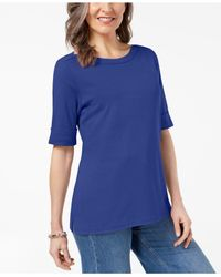Karen Scott Blue Cuffed Boat-neck Top, Created For Macy's