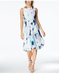 CALVIN KLEIN 205W39NYC - Blue Printed Pleated Chiffon Fit & Flare Dress - Lyst
