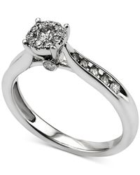 Macy's - Metallic Diamond Cluster Engagement Ring (3/8 Ct. T.w.) In 14k White Gold - Lyst
