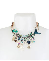 Betsey Johnson - Multicolor Gold-tone Multi-stone Fish Statement Necklace - Lyst