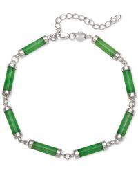 Macy's - Metallic Dyed Jadeite (4 X 15mm) Link Bracelet In Sterling Silver - Lyst