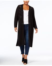 Style & Co. - Black Plus Size Open-front Duster Cardigan - Lyst
