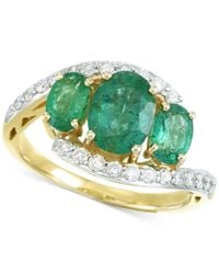 Rare Featuring Gemfields - Metallic Certified Emerald (1-5/8 Ct. T.w.) And Diamond (1/3 Ct. T.w.) Ring In 14k Gold - Lyst