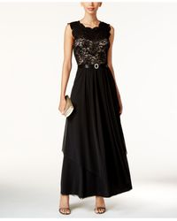 R & M Richards - Black Sequined Lace And Chiffon Gown - Lyst