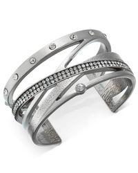 INC International Concepts - Metallic Pavé Crisscross Cuff Bracelet - Lyst