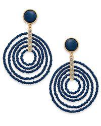 INC International Concepts | Blue Gold-tone Beaded Spiral Orbital Drop Earrings | Lyst