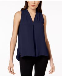 Vince Camuto - White Sleeveless Inverted-pleat Blouse - Lyst