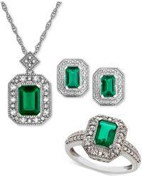 Macy's - Metallic Lab Created Emerald (2-3/8 Ct. T.w.) & White Sapphire (1/4 Ct. T.w.) Pendant Necklace - Lyst