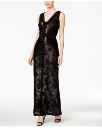 Calvin Klein Black Pintucked Sequined Floral Column Gown