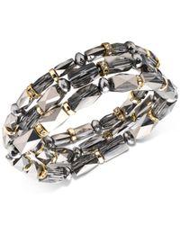 Nine West - Metallic Tri-tone 3-pc. Set Beaded Stretch Bracelets - Lyst
