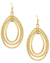 Charter Club - Metallic Gold-tone Oval Oribital Drop Earrings - Lyst