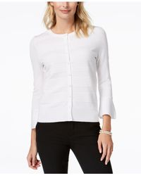Charter Club - White Bell-sleeve Cardigan, Created For Macy's - Lyst
