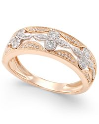 Macy's - Metallic Diamond Deco Flower Ring (1/4 Ct. T.w.) In 14k Rose Gold With White Gold Accents - Lyst