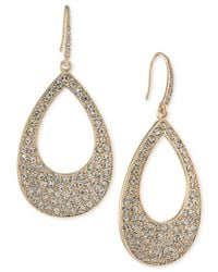 ABS By Allen Schwartz | Metallic Pavé Open Drop Earrings | Lyst