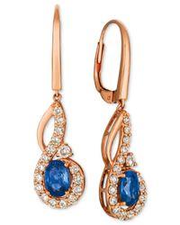 Le Vian - Metallic Strawberry & Nudetm Blueberry Sapphire (1-1/10 Ct. T.w.) & Diamond (5/8 Ct. T.w.) Drop Earrings In 14k Rose Gold - Lyst