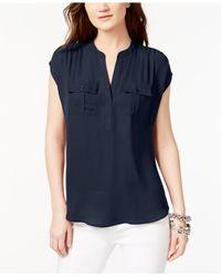 INC International Concepts - Blue Petite Dolman-sleeve Mixed-media Utility Shirt - Lyst