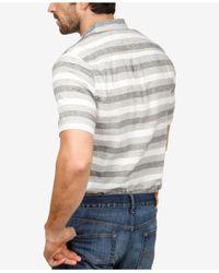 Lucky Brand - Gray Laguna Linen Striped Shirt for Men - Lyst