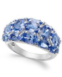 Macy's - Blue Tanzanite (6 Ct. T.w.) And Diamond (1/8 Ct. T.w.) Dome Ring In 14k White Gold - Lyst