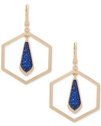 Ivanka Trump - Blue Gold-tone Octagon And Stone Orbital Drop Earrings - Lyst