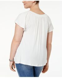 Soprano | Blue Plus Size Top, Short Sleeve Embellished V-neck | Lyst