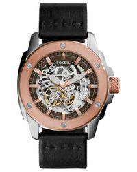 Fossil - Pink Men's Automatic Modern Machine Black Leather Strap Watch 50mm Me3082 for Men - Lyst