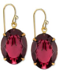 2028 | Metallic Gold-tone Burgundy Crystal Drop Earrings | Lyst