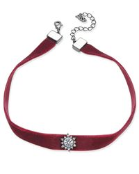 ABS By Allen Schwartz - Red Gold-tone Black Velvet Crystal Choker Necklace - Lyst