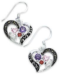 Macy's - Metallic Marcasite & Cubic Zirconia Heart Drop Earrings In Fine Silver-plate - Lyst