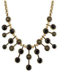 2028 | Metallic Silver-tone Antique-look Jet-stone Statement Necklace | Lyst