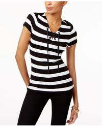 INC International Concepts - Black Petite Striped Lace-up Top - Lyst
