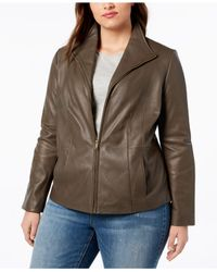 Cole Haan - Brown Signature Plus Size Leather Jacket - Lyst