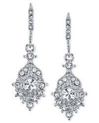 2028 | Metallic Silver-tone Crystal Drop Earrings | Lyst