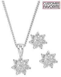 Charter Club | Metallic Silver-tone Starburst Pendant Necklace And Stud Earrings Jewelry Set | Lyst