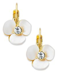 kate spade new york | White Earrings, Gold-tone Cream Disco Pansy Flower Leverback Earrings | Lyst