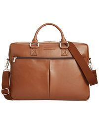 Perry Ellis | Brown Zip-top Leather Briefcase for Men | Lyst