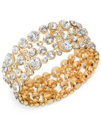 Guess | Metallic Bracelet, Gold-tone Crystal Bubble Stretch Bracelet | Lyst