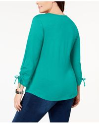 Karen Scott Blue Plus Size Cotton Ruched Henley Top, Created For Macy's