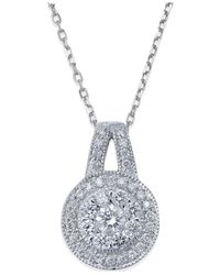 Macy's - Metallic Diamond Circle Pendant Necklace In 14k White Gold (1/2 Ct. T.w.) - Lyst